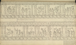 Narrative sculpture on the south side of the Amritesvara Temple at Amritpur, 1805. Second panel of the Ramayana frieze